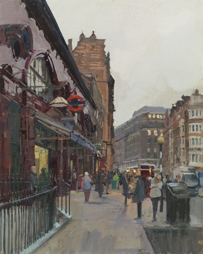 Peter Brown: 'Russell Square Station', oil on canvas, 25 x 20 inches, 2015