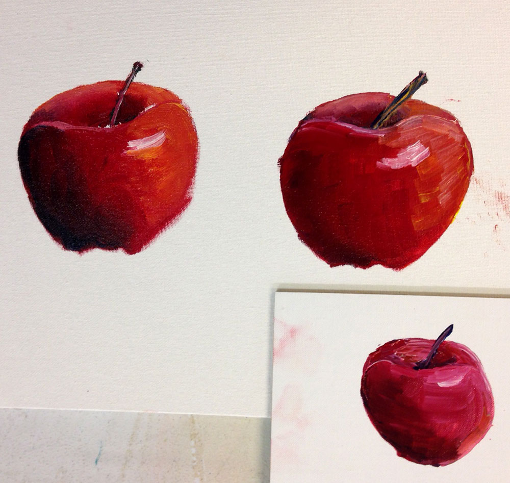 The apple on the left I painted with standard oil paints and low-odour solvent. The apple on the right I painted with standard oil paints and Medium W (regular and gel). The apple on the lower right I painted with standard oil paints and Medium W (regular and gel) plus water.