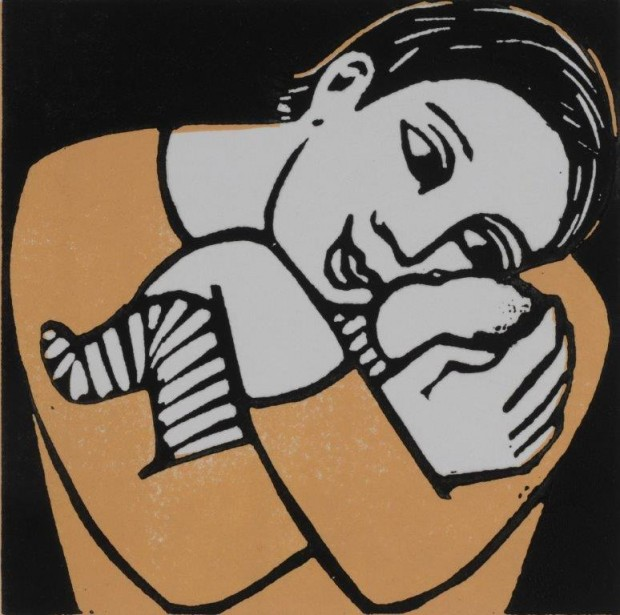 Anita Klein: 'The New Baby', lino cut, 15cm x 15cm, 2015