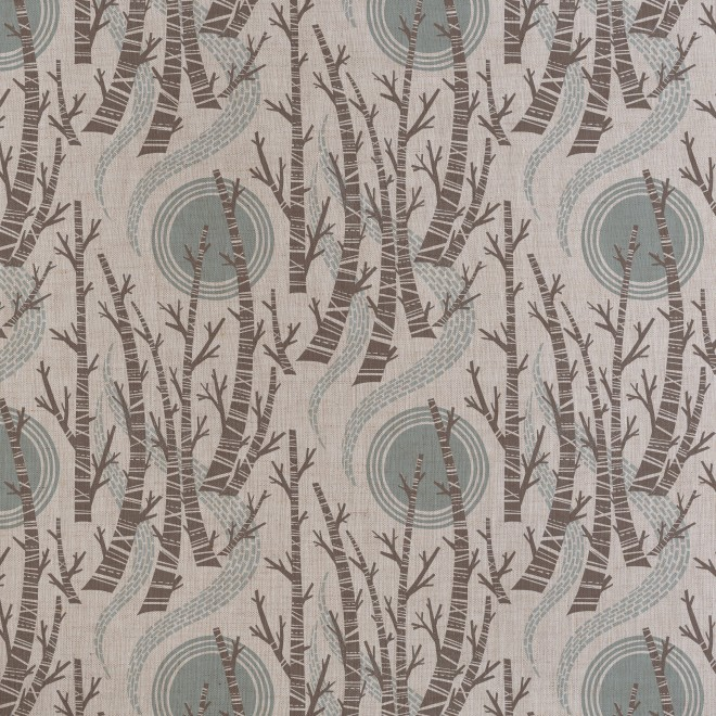 Angie Lewin: 'Birch Tree Sun' (charcoal/dawn grey colour way), screen printed fabric originating from linocut design, Printed width approx. 137cm. Vertical repeat: 32cm. Pattern match: Half drop. Available to purchase from http://www.stjudesfabrics.co.uk/