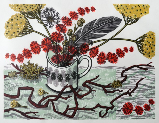 Angie Lewin: 'The Twisted Stem', linocut, 31.5cm x 42cm