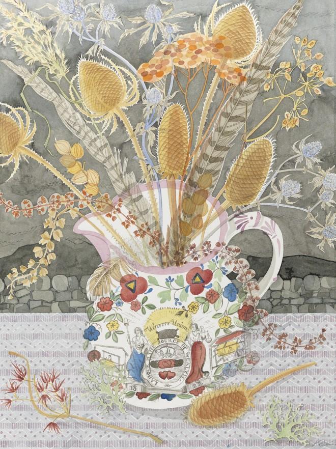 Angie Lewin: 'Weavers' Union', watercolour, 57cm x 77cm