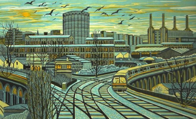 Gail Brodholt: 'Factory Junction', linocut, 55cm x 90cm, edition 75