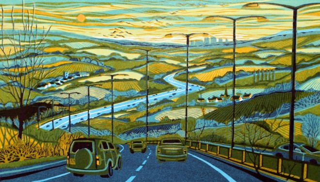 Gail Brodholt: 'From the Motorway,' linocut, 40cm x 70cm, edition 75