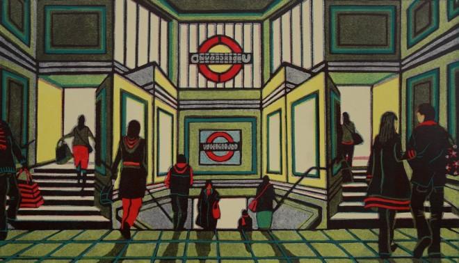 Gail Brodholt: 'Gateway to the South', linocut 40cm x 70cm, edition 75