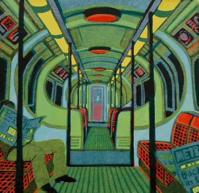 Gail Brodholt: 'Metroland II', linocut, 33cm x 34cm, edition of 75