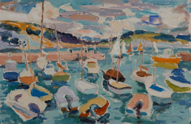 "Hugo Grenville: 'On the High Tide: Lyme Regis', Oil on Board, 15"" x 23"""