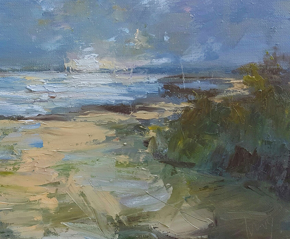 'Approaching the Camel Estuary, Cornwall'  Oil on board using Jackson's Akoya Synthetic brushes by Hannah Ivory Baker