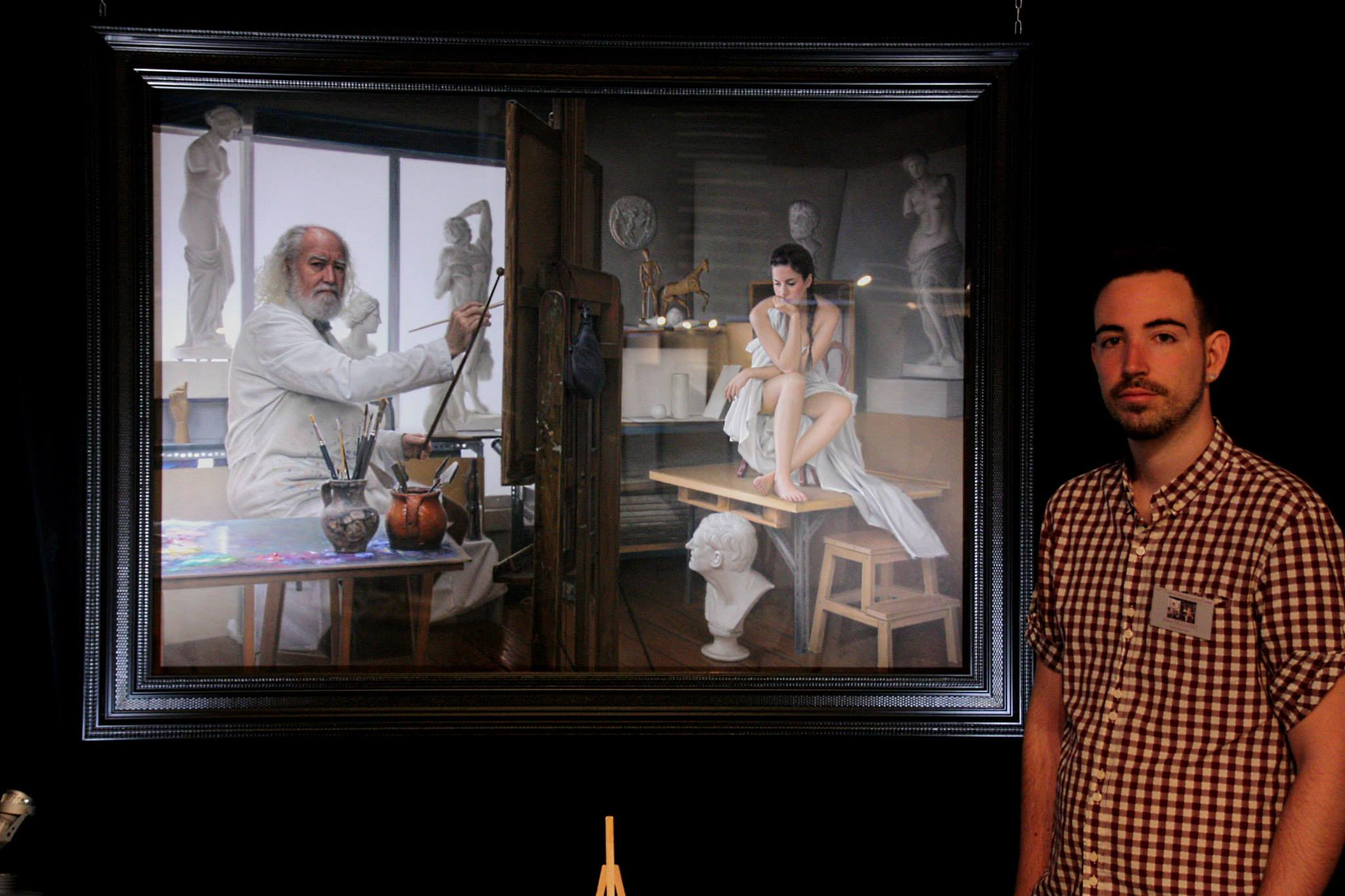 Ruben Bellos Adorna with his work shown at Feytiat in France August 2015