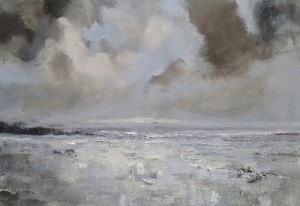 Pale light on a wet beach 24x30in oil on canvas by Hannah Ivory Baker current events