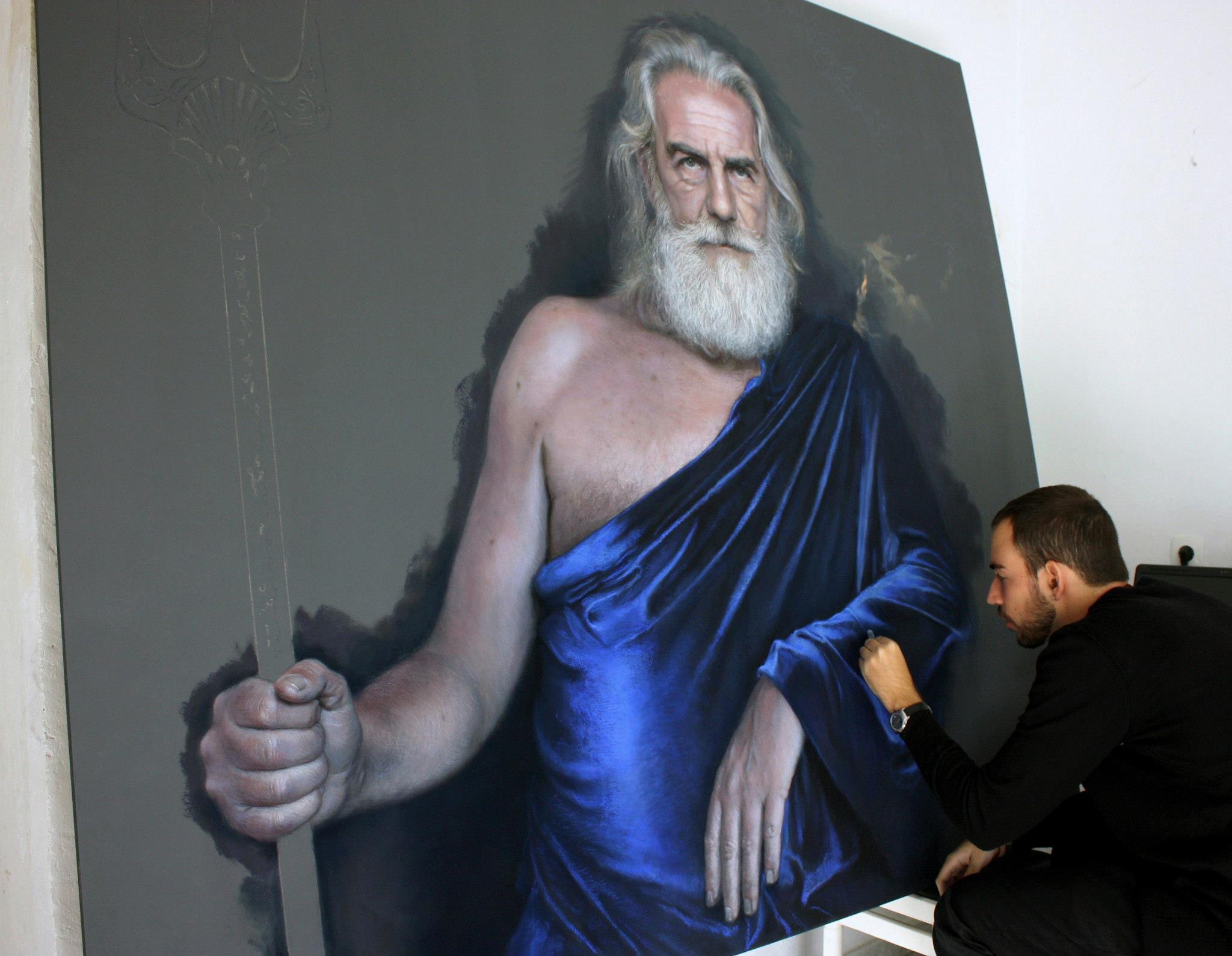 Ruben Belloso Adorno 'Poseidon' pastel painting work in progress
