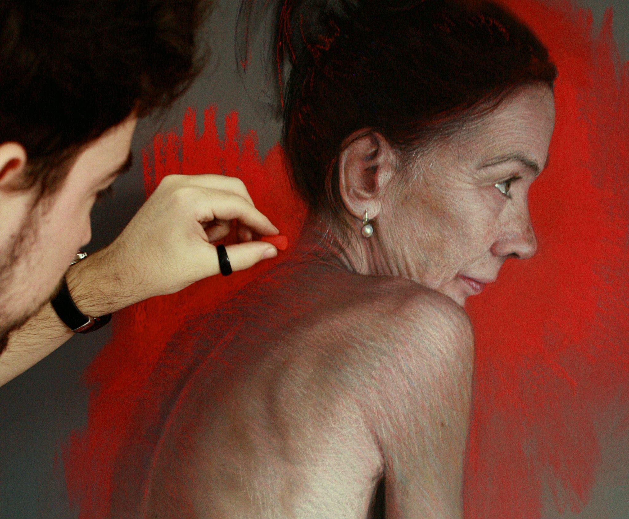 Work in progress Ruben Belloso 'Tempus Fugit' Pastel on panel