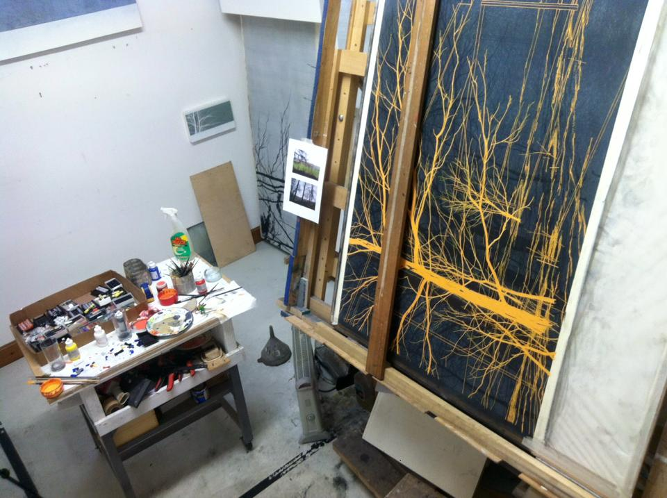 Andrew MacKenzie's work in progress in the studio