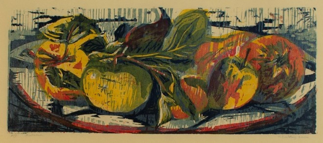 Hilary Daltry: 'Autumn', woodcut