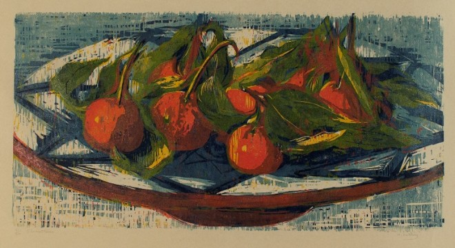 Hilary Daltry: 'Clementines', woodcut