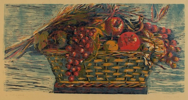 Hilary Daltry: 'Fruits of Attica', woodcut print, 2003