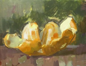James Bland Peeled Orange Oil on canvas, 8x10 inch