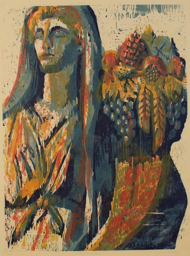 Hilary Daltry: 'Livia's Garden', woodcut print, 1995