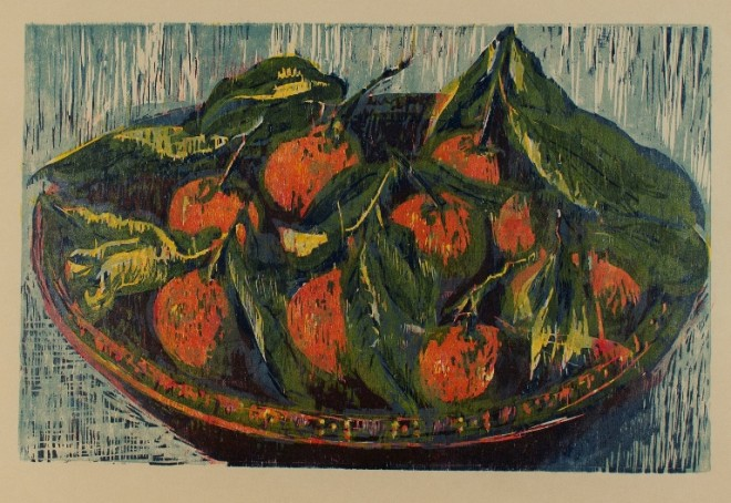 Hilary Daltry: 'Nine Clementines', woodcut print