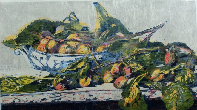 Hilary Daltry: 'September Fruits on Copenhagen Dish', woodcut print