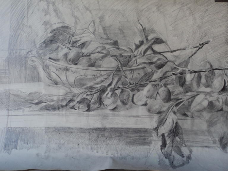 Hilary Daltry: 'September Fruits', pencil drawing