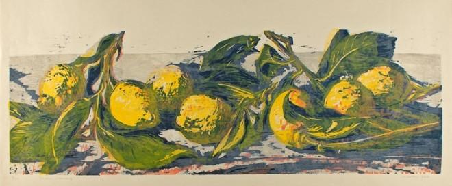 Hilary Daltry: 'Seven Lemons', woodcut print, 2013