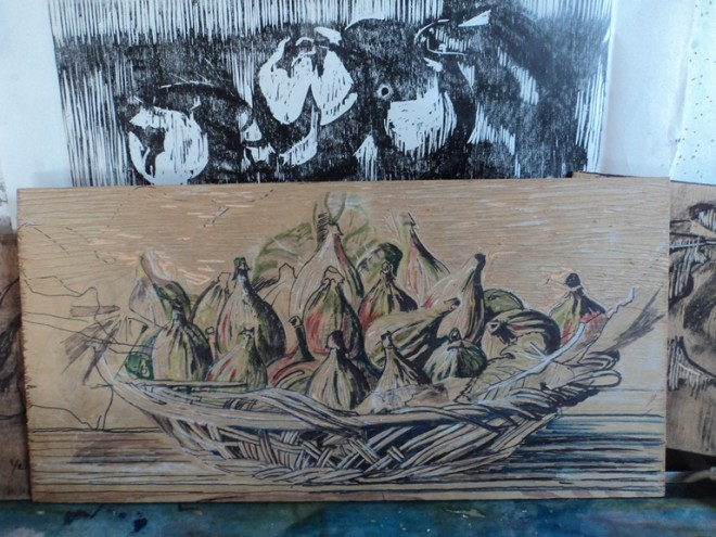 Hilary Daltry: Drawing of figs on wood block