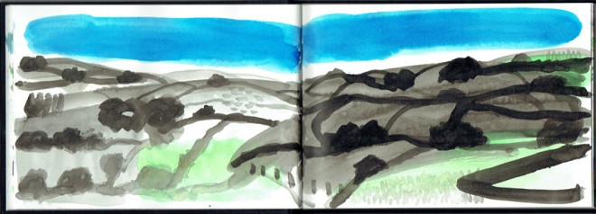 James Hobbs: 'Brecon Beacons', ink on paper, 15x42cm