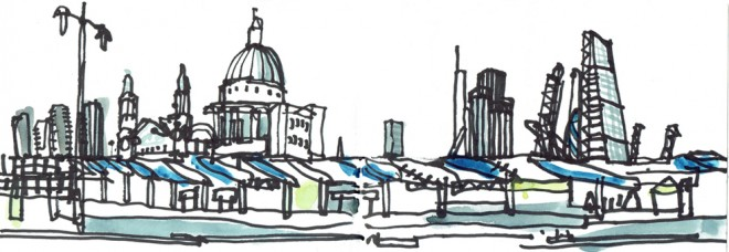 James Hobbs: 'From Blackfriars Bridge', marker pen and watercolour, 10x30cm