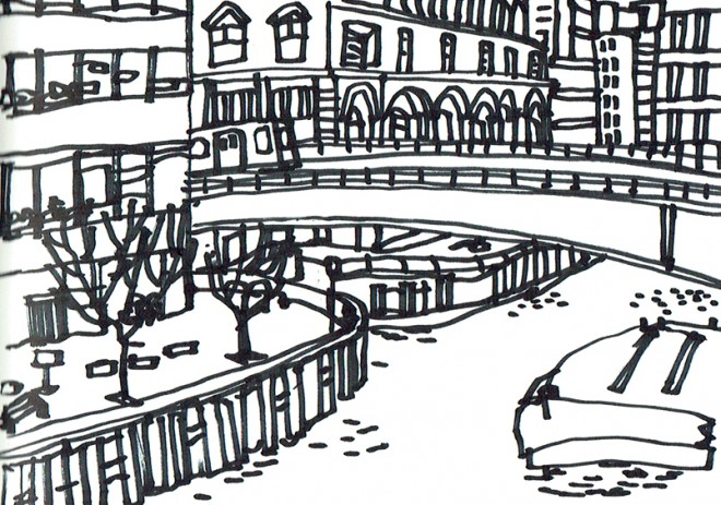 James Hobbs: 'North Dock, Canary Wharf, London', marker pen, 15x21cm