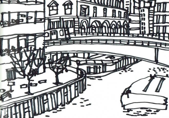 James Hobbs: 'North Dock, Canary Wharf, London', marker pen, 15x21cm