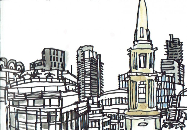 James Hobbs: 'From One New Change, London', marker pen, 15x21cm