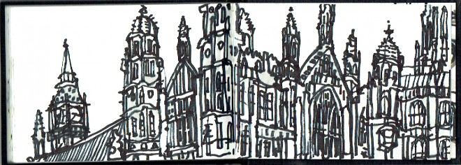 James Hobbs: 'Palace of Westminster, London', marker pen, 10x30cm