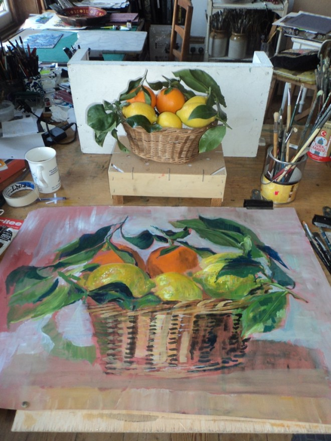 Hilary Daltry: 'Oranges and Lemons' still life and acrylic painting