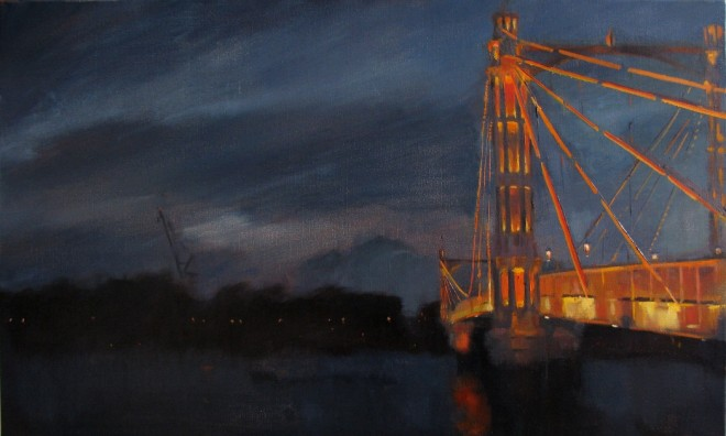 Christopher Gray: 'Nocturne, Albert Bridge', 50 x 86cm, oil on canvas