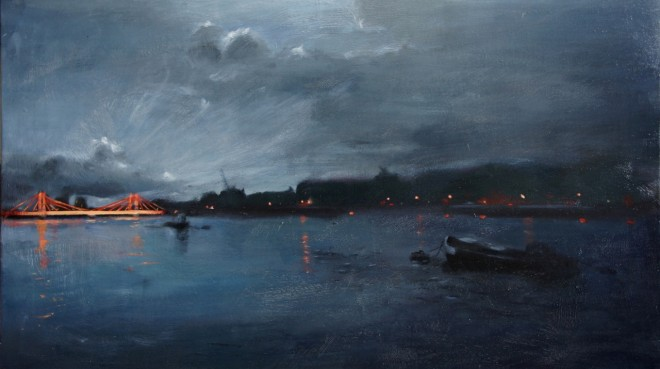 Christopher Gray: 'Nocturne, Battersea Park', 50 x 86cm, oil on canvas
