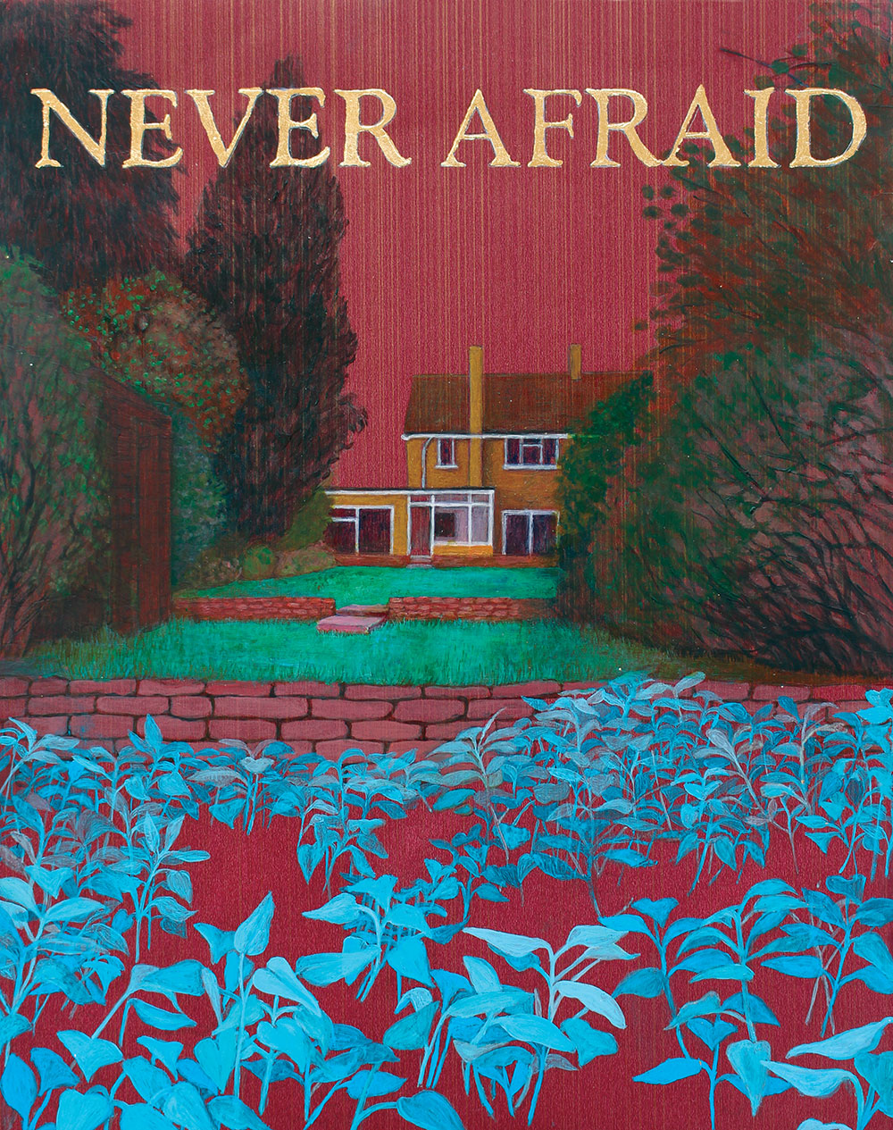 NEVER AFRAID: Season II - Earley Rising, Sarah Sparkes 2015, acrylic and gold leaf on wallpaper 23cm x 29 cm