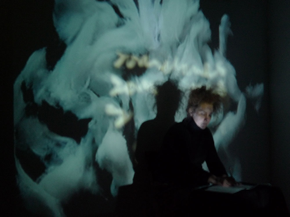 Birgitta Hosea performing 'Medium' at GHost at Exploding Cinema event, EXPANDED at Goldsmiths College 2012