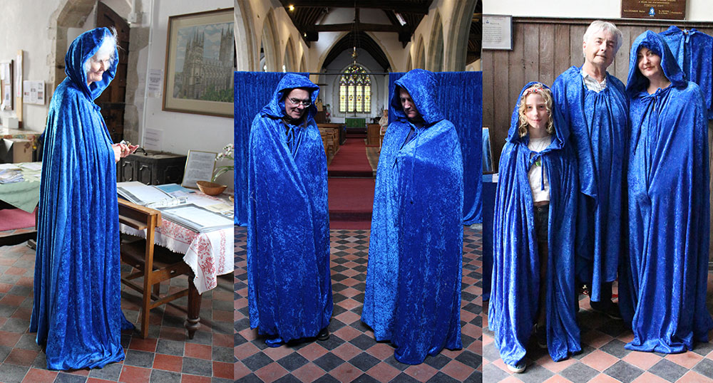 Blue Seven, Sarah Sparkes, site specific commission for Art In Romney Marsh Churches 2014 - 7 blue cloaks which could be worn in the church by visitors.