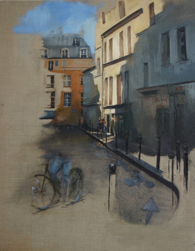 Christopher Gray: 'The Street', 86 x 50cm, oil on linen