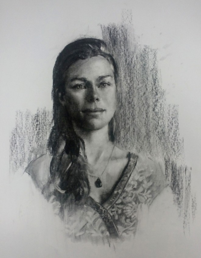 Christopher Gray: 'Lucy', 50 x 70cm, charcoal on paper