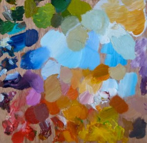 section of palette used for oil painting by Julie Caves