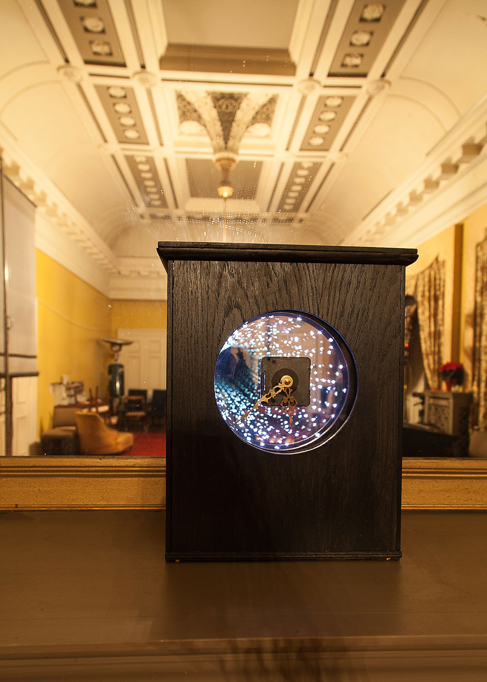 Time Machine, Sarah Sparkes 2013, wood, clock movement, infinity illusion.