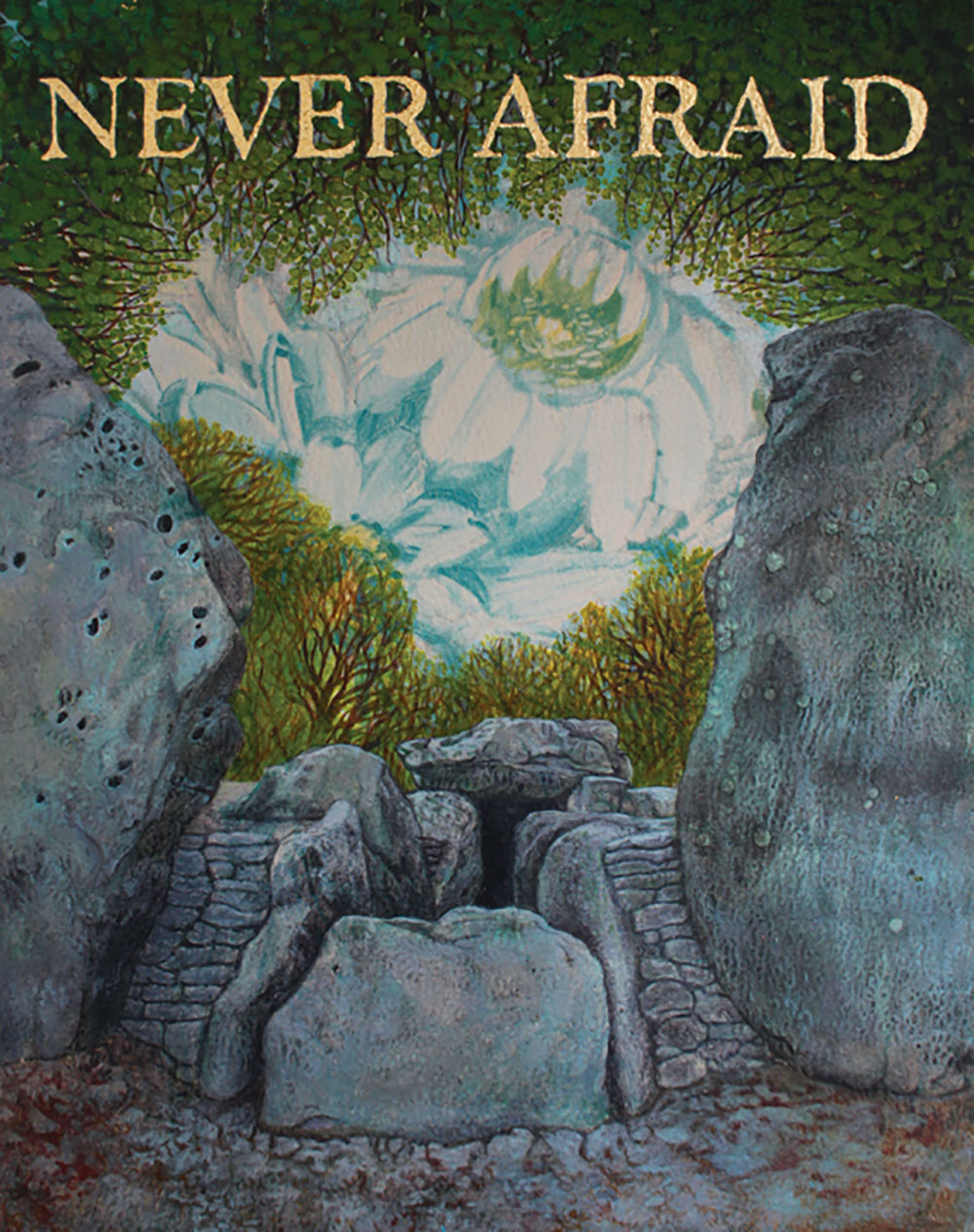 NEVER AFRAID: Season II - Wayland's Country, Sarah Sparkes 2015, acrylic and gold leaf on wallppaer 23cm x 29cm