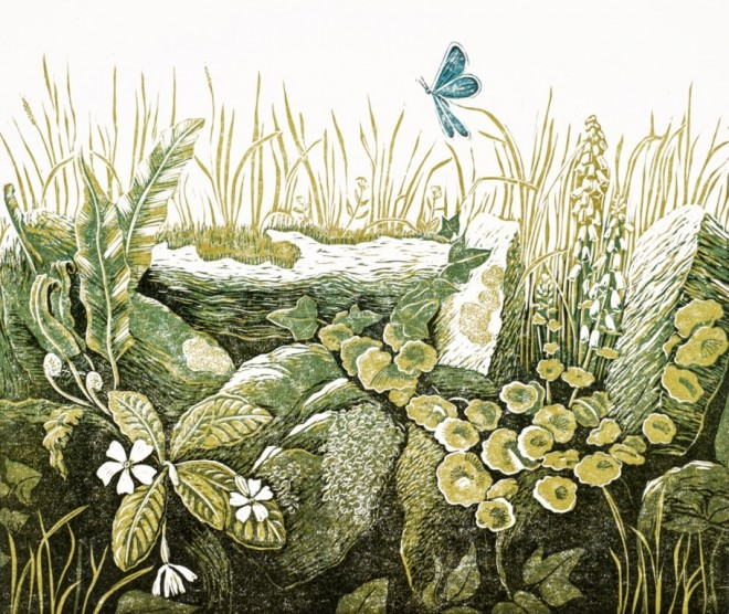 Christine Howes: 'The Stone Hedge', linocut (photo by Jo Hounsome)