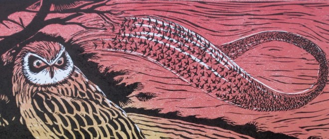 Christine Howes: 'The Owl and Starlings' (detail), linocut print