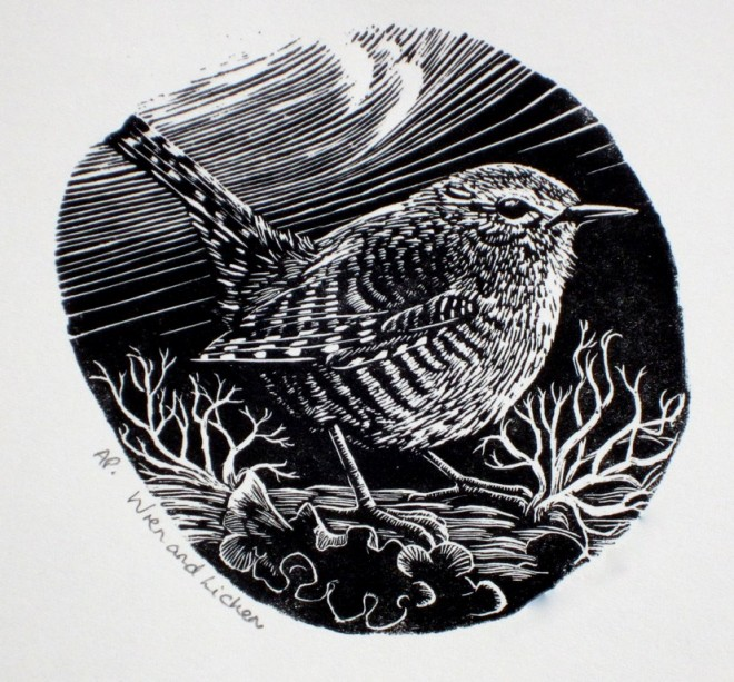 Chrstine Howes: 'Wren and Lichen', wood engraving