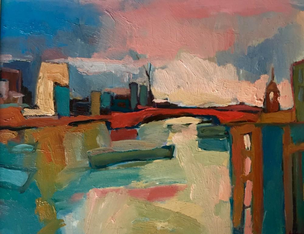 Thames at Dusk oil on board, 45x40cm, 2015 Paul Bell