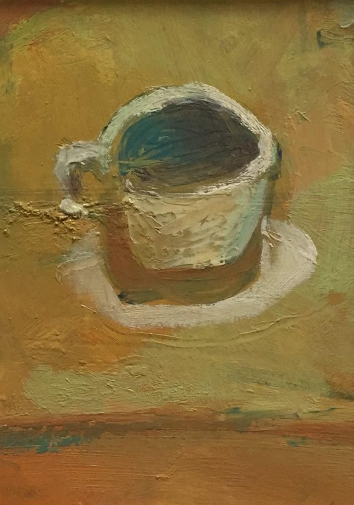 Tea Cup oil on board, 15x20cm 2015 Paul Bell