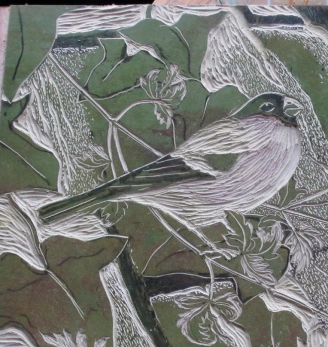 Christine Howes: A detail from the carved lino block for 'Bullfinches'